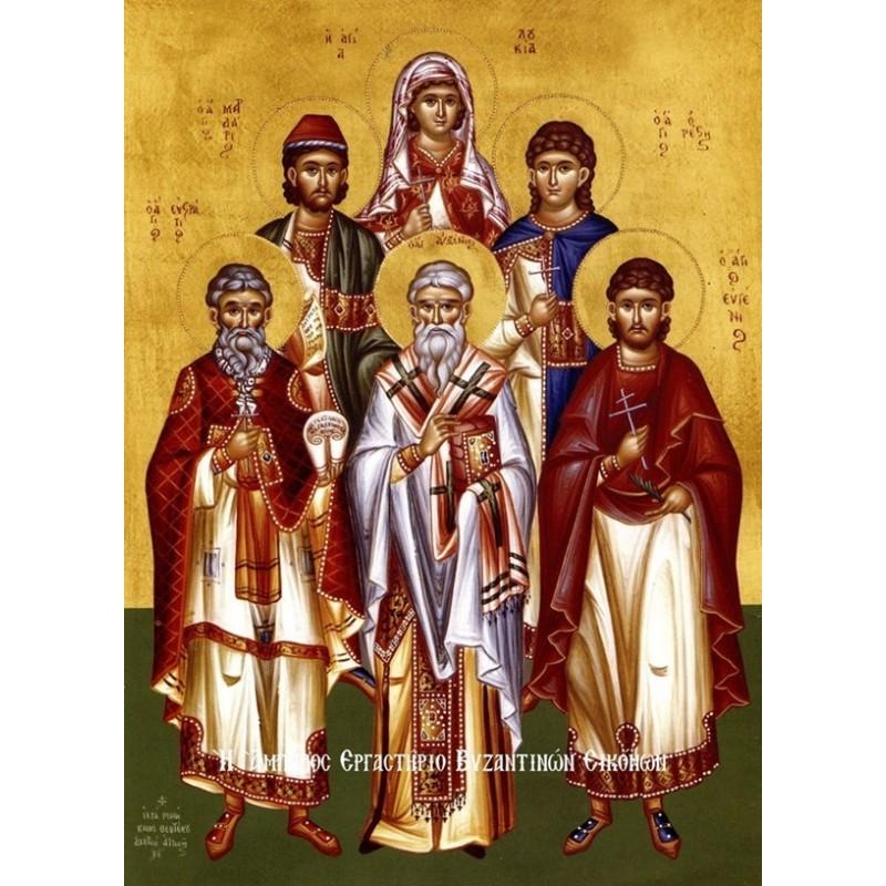 Άγιοι Ευστράτιος, Αυξέντιος, Ευγένιος, Μαρδάριος, Ορέστης, Μάρτυρες Σεβαστείας και Λουκίας Παρθενομάρτυς Συρακούσων - Ολόσωμοι